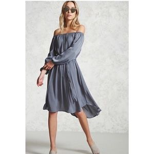 Forever21 dusty blue satin belted dress